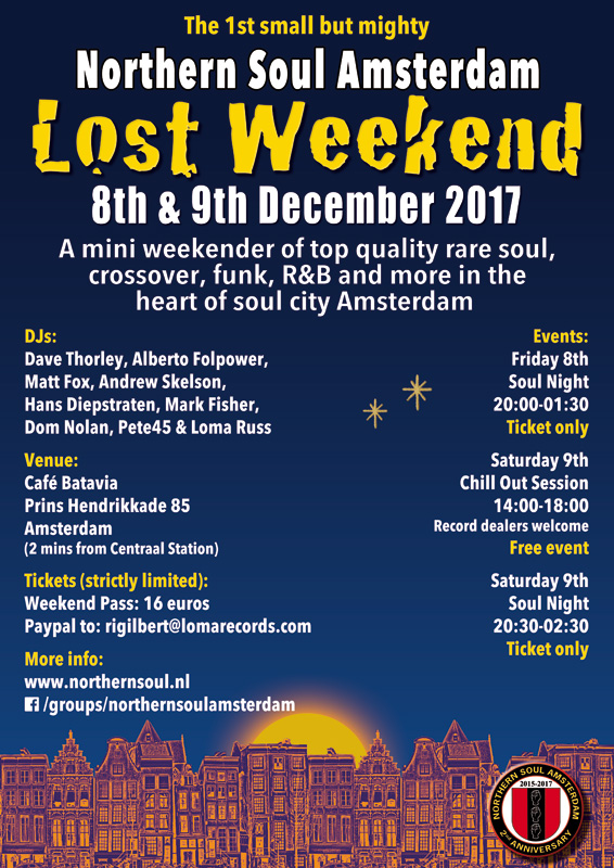 Northern Soul Amsterdam soul club mini weekender December 2017